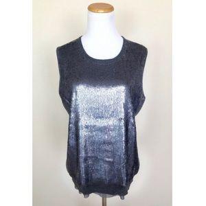 Jones New York XL Gray Sequin Sweater Tank